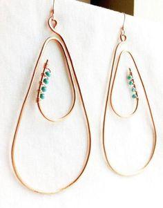 Stone Earrings, Stone Jewelry, Metal Jewelry, Beaded Earrings, Earrings Handmade, Beaded Jewelry, Handmade Jewelry, Copper Earrings, Teardrop Earrings