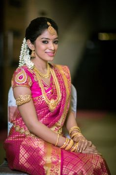 South indian bridal makeup hairstyles 40 indian bridal hairstyles perfect for south indian bridal hairstyle for oval indian enement hairstyle for round round and chubby face look Best South. South Indian Bridal Jewellery, Indian Bridal Sarees, Indian Bridal Wear, Bridal Jewelry, Gold Jewelry, Bridal Shoes, Bridal Lehenga, Gold Necklace, South Indian Wedding Hairstyles