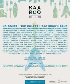 SanDiegoVille.com: Inaugural KAABOO Del Mar Music & Cultural Festival Releases Line Up For September 18-20 Event