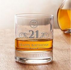 Whiskey Glass - 21st Birthday - Elegant Tumbler - 21 years - Standard - Perfect Birthday Gift for Men - Capacity: 10 oz PLUS Bonus Set of 3 Whiskey Stones
