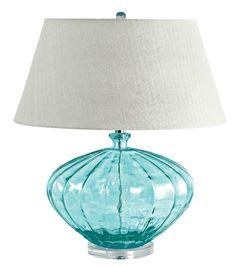 Aqua Blue Fluted Glass Table Lamp