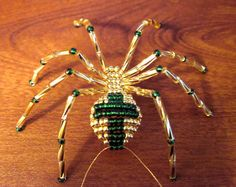 Green and Gold Cross Beaded Spider Christmas Ornament | eBay