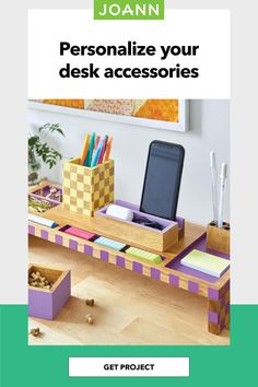 Limited dorm space? No problem! Customize a wood desk organizer with pops of paint to make the most of your workspace. Painted Paper, Painted Wood, How To Make Paint, Wood Desk, Joanns Fabric And Crafts, Knitted Blankets, Craft Stores, Painting On Wood, Fall Decor