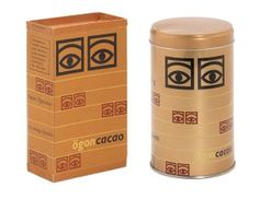 """The Eksell 'Eyes Logo' as it used to look on cocoa packaging, """"ögoncacao"""" meaning """"eyes cocoa""""."""