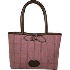 Dee Two British Tweed Heather Bow Shopper Bag Country Cognac The Country Cognac range of handbags and accessories combines the luxury of leather with