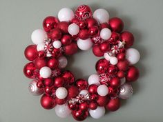 Peppermint Wreath Ideas | PEPPERMINT CHRISTMAS Ornament Wreath 21-- as seen in Southern Living