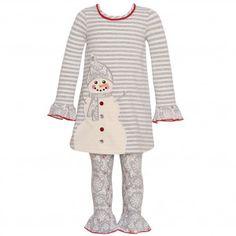 7c74a8419594a Bonnie Jean Little Girls Gray Stripe Snowman Applique 2 Pc Legging Set  2T-6X Jeans