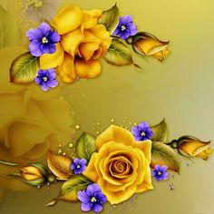 "Barnali Bagchi ~ ""Yellow Roses & Violets"" ~ moonbeam1212."