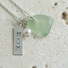 Mint Green MOM Charm Necklace Sea Glass by sweptfromthesea