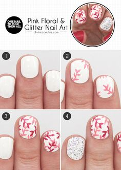 Pink floral and glitter//nail art//Tutorial. Fancy Nails, Love Nails, Diy Nails, How To Do Nails, Pretty Nails, Spring Nail Art, Spring Nails, Cute Nail Art, Glitter Nail Art