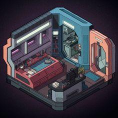 A series of small futuristic micro apartment designs done in an isometric style. Futuristic Bedroom, Futuristic Interior, Futuristic City, Futuristic Architecture, Isometric Art, Isometric Design, Art Conceptual, Sci Fi City, Spaceship Interior