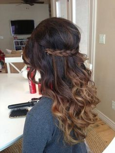 Braided across with curls