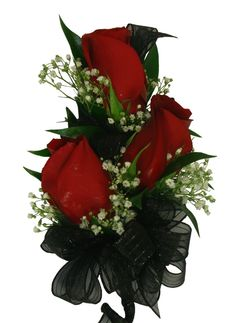 Triple Red Rose Corsage with black ribbon