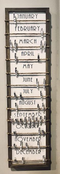 Birthday Calendar DIY - home office organization diy Birthday Calendar Board, Birthday Board, Diy Birthday Reminder Board, Family Calendar, Diy Calendar, Homemade Birthday, Birthday Diy, Birthday Gifts, Calendrier Diy