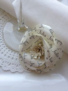 Handmade and personalised paper flower place by PaperClass on Etsy