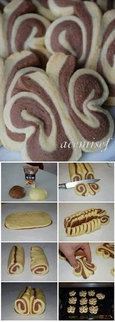 Technique des biscuits papillon - Butterfly Roll-Up Cookies Biscuit Cookies, Shortbread Cookies, No Bake Cookies, Cake Cookies, Cookie Recipes, Dessert Recipes, Creative Food, Sweet Recipes, Sweet Treats