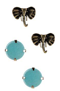Turquoise & Elephant Earring Set