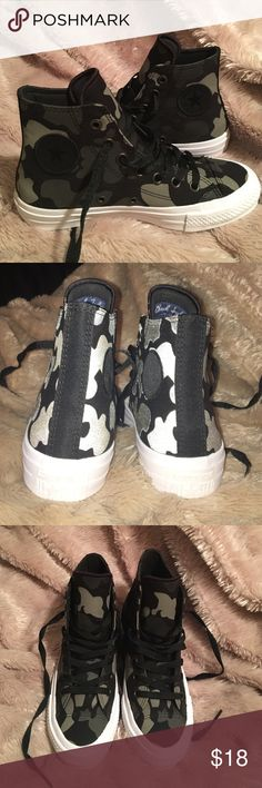 High top camo converse Only worn once! Too small for me ): Perfect condition. Shoes Sneakers