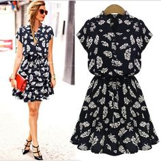 Stylish Lady Women's Casual V-Neck Batwing Sleeve Coco Leaf Print Pleated Dress