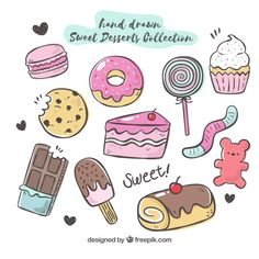 Sweet desserts collection in hand drawn style Free Vector Cute Food Drawings, Cute Kawaii Drawings, Easy Drawings, Food Drawing Easy, Doodle Art, Doodle Drawings, Doodle Frames, Doodles Kawaii, Food Doodles
