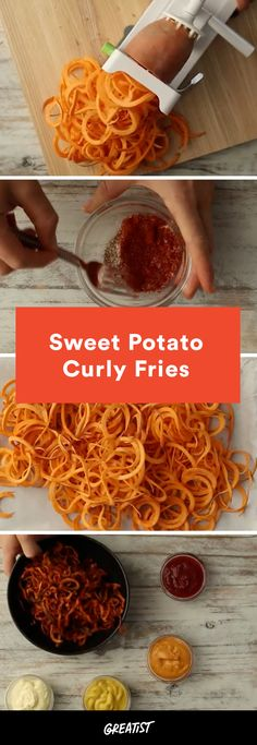 """Baked Spiralized Sweet Potato Curly Fries : Sweet Potato Curly Fries Made With a Spiralizer """"Fryday"""" just got even better. Sweet Potato Spiralizer Recipes, Zoodle Recipes, Sweet Potato Recipes, Spiralizer Recipes Vegetarian, Vegetarian Tapas, Spiralized Sweet Potato Fries, Sweet Potato Noodles, Whole30 Sweet Potato Fries, Air Fryer Sweet Potato Fries"""