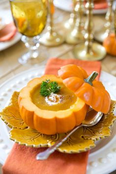 Pumpkin Bisque in a Pumpkin Shell. This creamy delicious pumpkin bisque is perfect for fall especially served in a mini pumpkin shell! Pumpkin Bisque, Pumpkin Soup, Pumpkin Recipes, Pumpkin Spice, Pumpkin Guts Recipe, Thanksgiving Recipes, Fall Recipes, Holiday Recipes, Gourmet Recipes