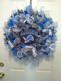 Large Mesh Ribbon Detroit Lions NFL Pro Football Wreath Blue White Silver by DesignTwentyNineSC on Etsy https://www.etsy.com/listing/208297780/large-mesh-ribbon-detroit-lions-nfl-pro