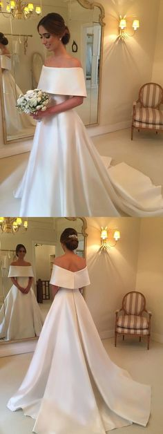 A-line Off the Shoulder Satin Cheap Simple Bridal
