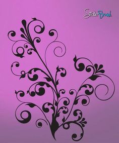 Vinyl Wall Decal Sticker Swirl Floral Flower #511 | Stickerbrand wall art decals, wall graphics and wall murals.