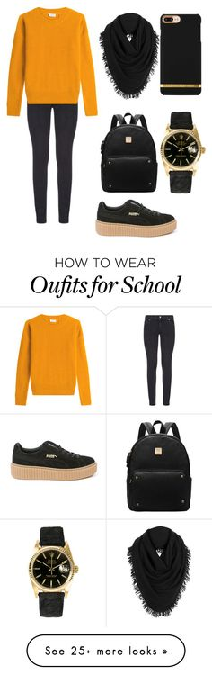 """""""School outfit"""" by anast4ul on Polyvore featuring Paige Denim, Closed, Puma, White + Warren and Rolex"""