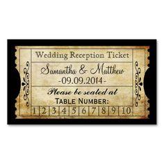 Vintage Wedding Ticket Drink | Escort | Punch Card Business Card Templates