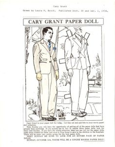 Cary Grant paper dolls  | Cary Grant by Laura Brock | Paper Doll Movie Star