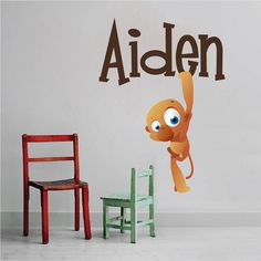 Kids Monkey Name Wall Decal - Nursery Wall Decal Murals - Primedecals