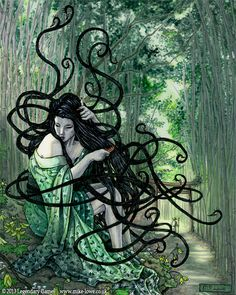 Harionago- Japanese myth: a beautiful young woman with barbed hair that she can completely control. She wanders the roadways and laughs at on coming men. If he dares laugh back she would release her hair and ensnare the poor man.