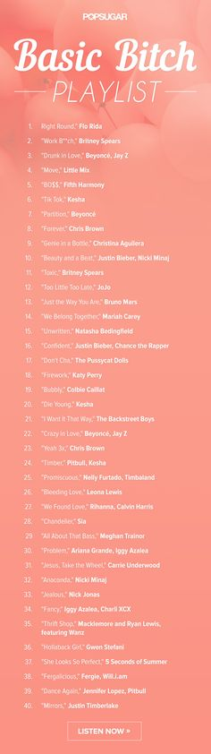 The ultimate basic b*tch playlist for girls night! Lol!
