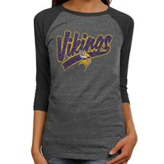 11d9a4dd7 Reebok Minnesota Vikings Ladies Tri-Sweep Raglan Three-Quarter Sleeve  Premium Tri-Blend