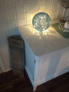 Turkis, batteridrevet cottonball-lampe :-)