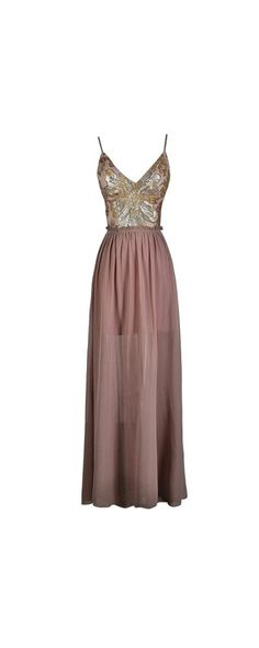 Wow Factor Open Back Sequin Maxi Dress in Dusty Pink/Gold  www.lilyboutique.com