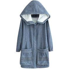 Hooded Stuffed Denim Dust Coat (€64) ❤ liked on Polyvore featuring outerwear, coats, jackets, coats & jackets, blue coat, denim coat e hooded coats