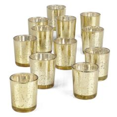 Votive Cup Set - Gold from Z Gallerie $20 for a set of 12 so they are roughly $2 each; get a few sets and there could be enough for each table