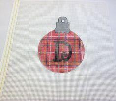 Plaid Letter Monogram (Your Choice) Handpainted Needlepoint Canvas Ornament…
