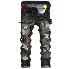 (29.18$)  Buy here - http://aiv4i.worlditems.win/all/product.php?id=32791692589 - 2017 new men jeans  high quality holes jeans men homme balmai denim trousers jeans Casual straight ripped jeans for men