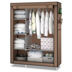 Portable Wardrobe Closet Canvas Clothes Storage