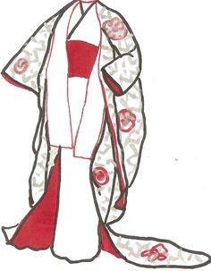 #fs4233  The Wedding Kimono - The Japanese wedding dress copies the principle of the kimono, but there are differences in the costume.  Unlike the normal bright undergarment usually worn, the undergarment of the bride is white. White is a  color of mourning in Japan. When the bride assumes her new surname, she is considered to be dead to  her family.  Many years ago, it was traditional to wear a black wedding dress embroidered in gold. Black is  considered to be formal and guests still wear…