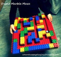 We are Happy Playing: How to build a Duplo Marble Maze Marble Maze, Lego Projects, Lego Friends, Lego Duplo, Toddler Preschool, To My Daughter, Kindergarten, Crafts For Kids, Childhood