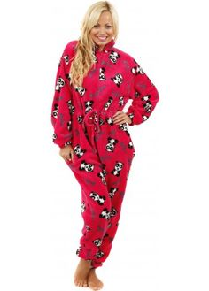 Pink Soft Fleece Pretty Panda Onesie