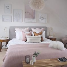 The gorgeous bedroom of Jennifer featuring our luxurious mongolian white cushion 💕🌸 Room Decor Bedroom Rose Gold, Pink Room, Room Ideas Bedroom, Home Decor Bedroom, Bedroom Colors, Ikea Bedroom, Rose Gold And Grey Bedroom, Grey And White Room, Bedroom Cushions