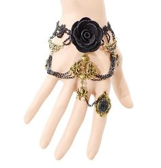 Retro black lace Bracelet with one chain ring large European and American style jewelry Gothic Rose