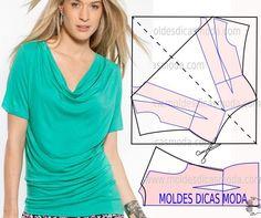 Nunca é demais relembrar que a observação da imagem com a devida atenção do molde blusa drapeado é fundamental para minimizar o erro. Para fazer este model