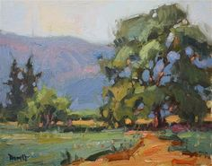 More Trees and Pink Hills - Original Fine Art for Sale - © by Cathleen Rehfeld
